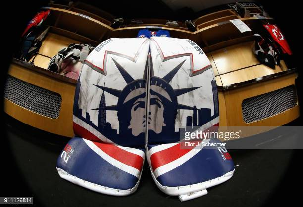 The pads of goaltender Henrik Lunqvist of the New York Rangers is seen in the locker room before the 2018 GEICO NHL AllStar Skills Competition at...