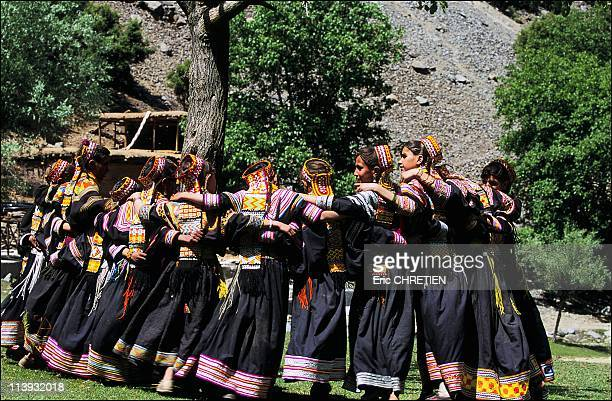 The pagan Kalash minority of Pakistan In Pakistan In July 2001Girls happy to rehearse the dances which will bring rhythm to the two day Joshi...