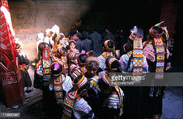 The pagan Kalash minority of Pakistan In Pakistan In July 2001Visit of the Djestak khan led by a tradition storyteller who explains to a group of...