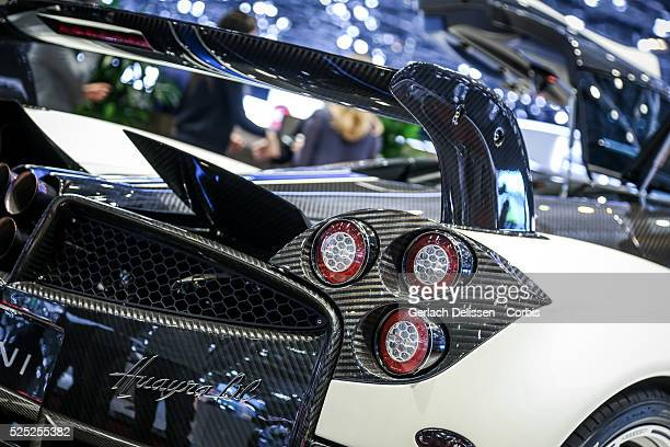 The Pagani Huayra back end as on display at the 86th Geneva International Motorshow at Palexpo in Switzerland, March 2, 2016.