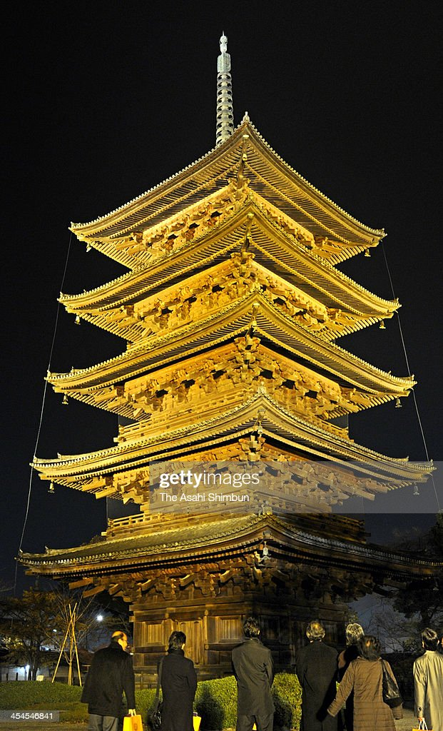 The pagoda of Toji temple is lit up with new LED lighting on December 6, 2013 in Kyoto, Japan.