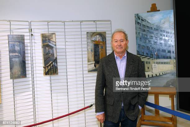The Painter of the Navy Jacques Rohaut poses in front of his works during Sylvain Forge wins the '71eme Prix du Quai des Orfevres 2018' for his Book...