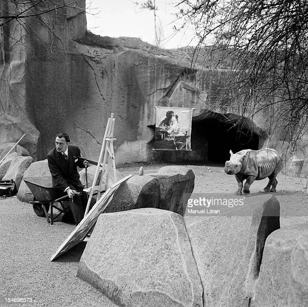 The painter Salvador Dali gave to the press convened at Vincennes Zoo an additional proof of his extravagance He set up his easel next to the...