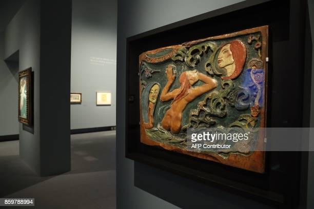 The painting 'Be mysterious' by French painter Paul Gauguin during the exhibition entitled 'Gauguin the alchimist' at the Grand Palais on October 10...
