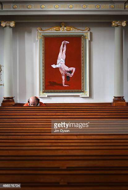 The painting 'Breakdancing Jesus The Salute' by Cosmo Sarson is pictured in St Marylebone Parish Church as part of the 'Stations of the Cross'...