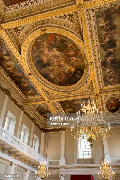 The painting by Paul Rubens on the ceiling of Banqueting House, on 17th September 2017, in Whitehall, Westminster, London, England. The ceiling of...