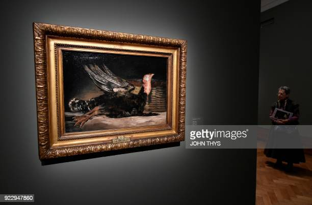 The painting 'Dead Turkey' by Spanish painter Francisco Goya is seeen during a preview of the exhibition 'Spanish Still Life' at the BOZAR Centre for...