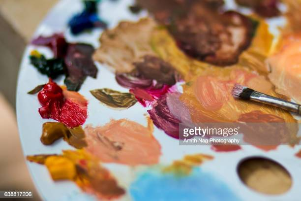 the painting is done - artist's palette stock photos and pictures