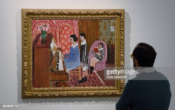 The painting La Lecon de Piano by Henri Matisse is displayed at Sotheby's January 13 2016 in New York The piece is scheduled to be auctioned February...