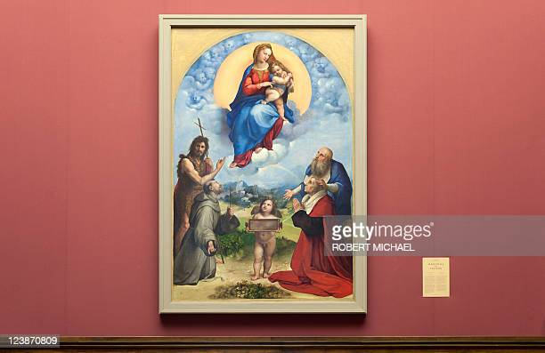 The painting 'Madonna di Foligno' which is closely related to 'Sixtinische Madonna' by Italian artist Raphael is displayed at the Gemaeldegalerie...