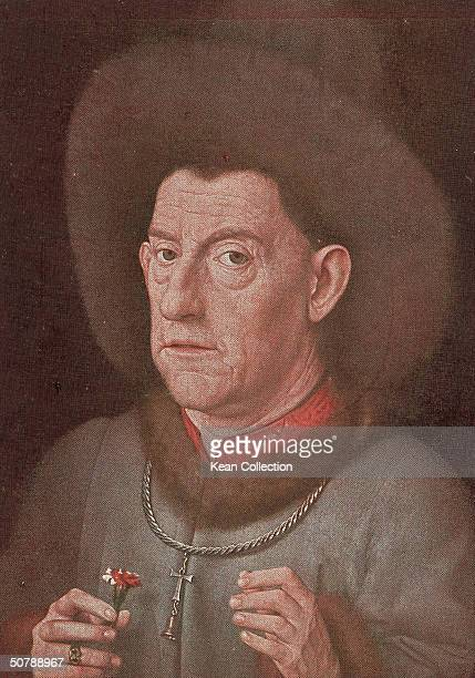 The painting 'Man with a Carnation' shows a man in an oversized hat with crucifix around his neck holding a carnation in his right hand by Dutch...