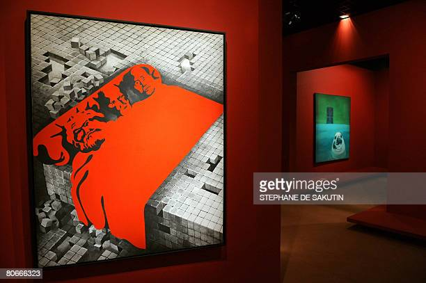The painting Marx Freud Mao of Henri Cueco is shown on April 14 2008 at the Grand Palais in Paris during the exhibition on Narrative Figuration in...
