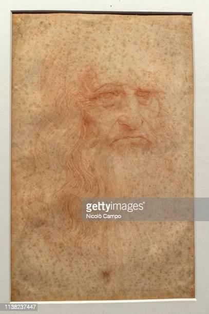 The painting 'Portrait of a man in red chalk' widely accepted as a self portrait of Leonardo da Vinci is seen during the exhibition 'Leonardo da...