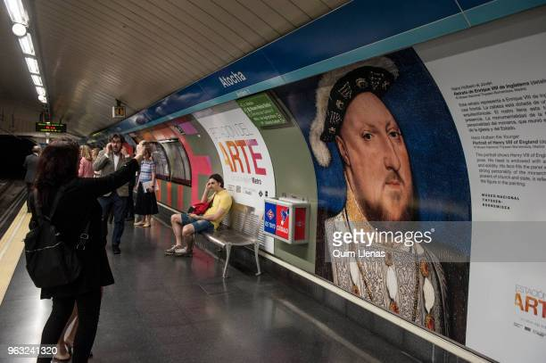 The painting 'Retrato de Enrique VIII de Inglaterra' by Hans Holbein the Younger is displayed on the walls of the Atocha metro station named since...