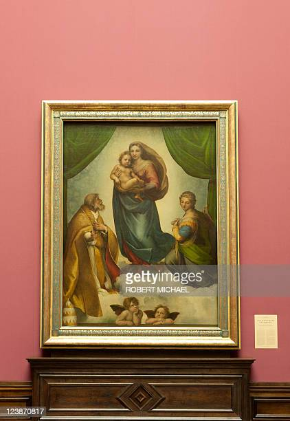 The painting 'Sixtinische Madonna' which is closely related to 'Madonna di Foligno' by Italian artist Raphael is displayed at the Gemaeldegalerie...