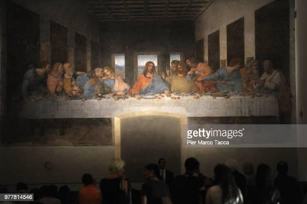 The painting 'The Last Supper' is displayed at the Museo del Cenacolo Vinciano during the Leonardo Da Vinci Prime Idee Per l'Ultima Cena' Exhibition...