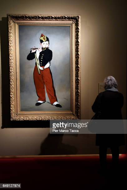 The painting 'The Pied Piper' by Edouard Manet is displayed during the Exhibition 'Manet E La Parigi Moderna' at Palazzo Reale on March 7 2017 in...