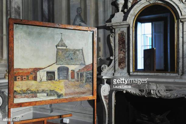 The painting 'The Protestant Barn' is displayed ahead of the press conference for the exhibition 'Vincent Van Gogh The enigma of Protestant Barn'...