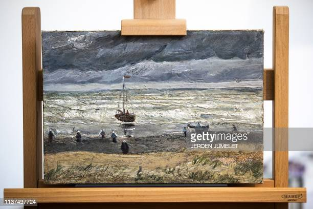 The painting view of the Sea at Scheveningen by Vincent van Gogh is pictured after it was returned back to the permanent collection at the Van Gogh...