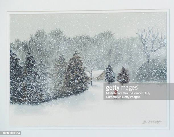 The painting Winter Walk by Beverly Abbott as part of the Broomfield Art Guild Winter Solstice Exhibit at the Broomfield Auditorium exhibit space on...
