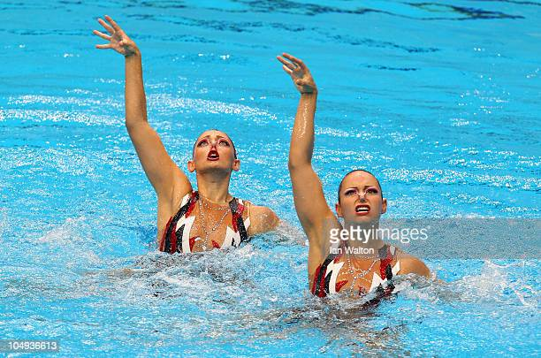 The pairing of Eloise Amberger and Sarah Bombell of Australia compete in the Duet Free Routine at the DrSP Mukherjee Aquatics Complex during day four...