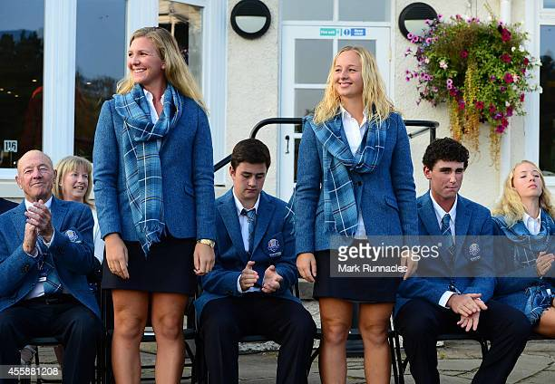 The pairing of Linnea Strom and Emily Pedersen of Team Europe is announced during the Opening Ceremony of the 2014 Junior Ryder Cup at Blairgowrie...