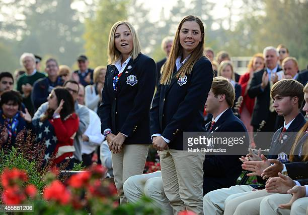 The pairing of Sierra Brooks and Kristen Gillman of Team USA is announced during the Opening Ceremony of the 2014 Junior Ryder Cup at Blairgowrie...