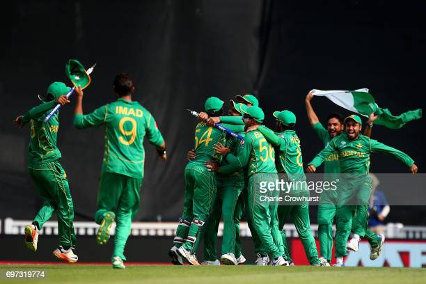 The Pakistan celebrate winning the final during the ICC Champions Trophy Final match between India and Pakistan at The Kia Oval on June 18 2017 in...