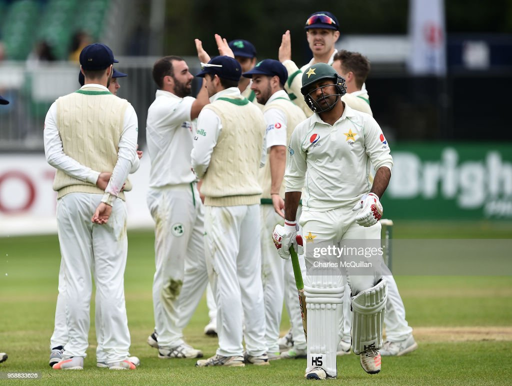 The Pakistan cricket team captain Sarfraz Ahmed walks off after losing his wicket on the fifth day of the international test cricket match between Ireland and Pakistan on May 15, 2018 in Malahide, Ireland.