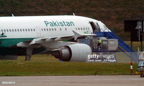 The Pakistan International Airlines' Airbus A310 aircraft on the tarmac of Birmingham International Airport from which a man was detained during...