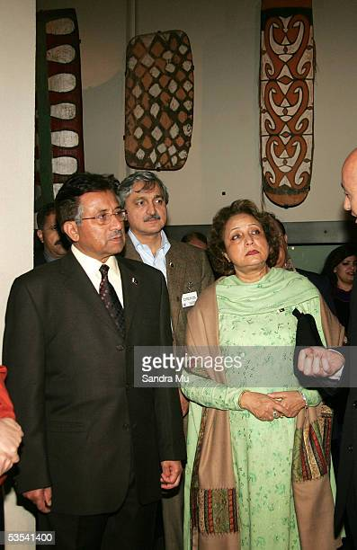 The Pakistan President General Pervez Musharraf and his wife Her Excellency Mrs Sehba Musharraf listen to the Maori History explained to them during...