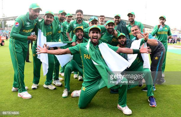 The Pakistan side celebrate victory during the ICC Champions Trophy Final match between India and Pakistan at The Kia Oval on June 18 2017 in London...