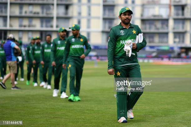 The Pakistan side cut dejected figures after their loss to Afghanistan during the ICC Cricket World Cup 2019 Warm Up match between Pakistan and...