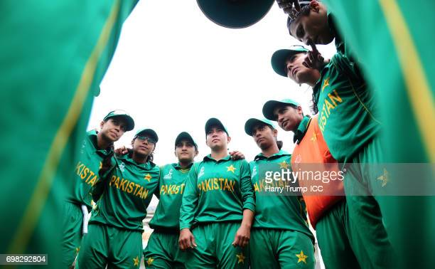The Pakistan side hold a pre match huddle during the ICC Women's World Cup Warm Up Match between West Indies Women and Pakistan Women at Grace Road...