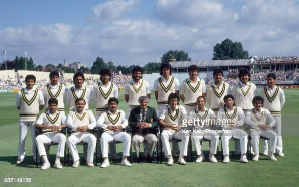 The Pakistan squad before the 4th Test match between England and Pakistan at Edgbaston Birmingham 23rd July 1987 Back row left to right Shoaib...