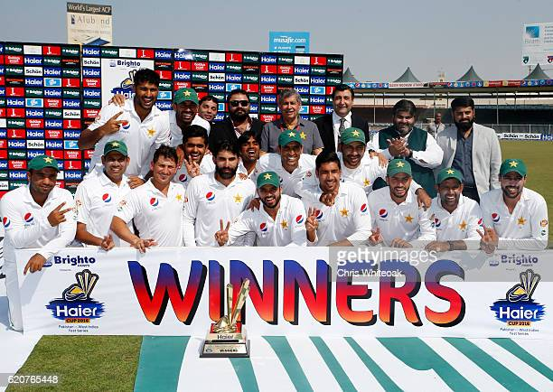The Pakistan team celebrate winning the series on day five of the third test between Pakistan and West Indies at Sharjah Cricket Stadium on November...