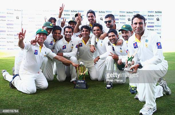 The Pakistan Team celebrate with the trophy after winning the series 20 during Day Five of the Second Test between Pakistan and Australia at Sheikh...