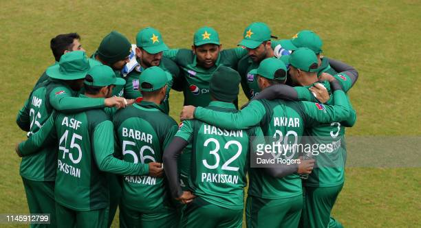 The Pakistan team gather during the tour match between Northamptonshire and Pakistan at The County Ground on April 29 2019 in Northampton England