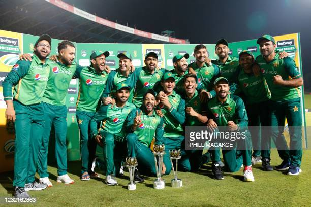 The Pakistan team pose for a photograph after winning the series after the third one-day international cricket match between South Africa and...