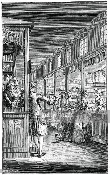 The Palace Galleries French shoppers possilby in the Galeries de Bois next to the PalaisRoyal in Paris Illustration from 18th Century Institutions...