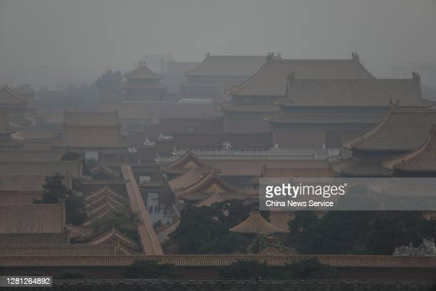 The Palace Museum is shrouded in smog on October 20, 2020 in Beijing, China.