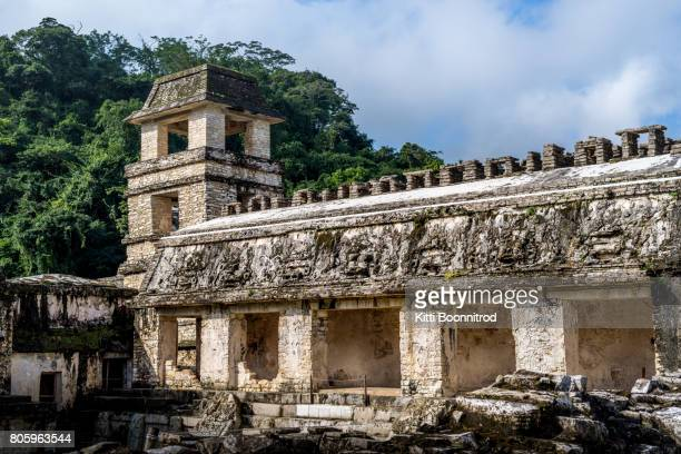 The Palace Observation Tower in Palenque, a mayan site in Mexico