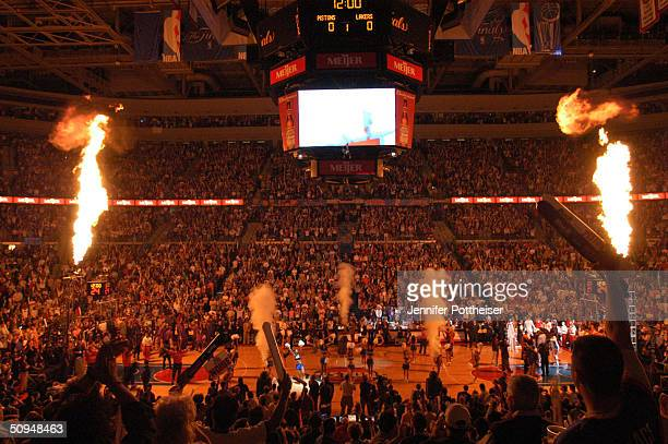 The Palace of Auburn Hills is lit before game three of the 2004 NBA Finals between the Detroit Pistons and the Los Angeles Lakers June 9, 2004 at the...