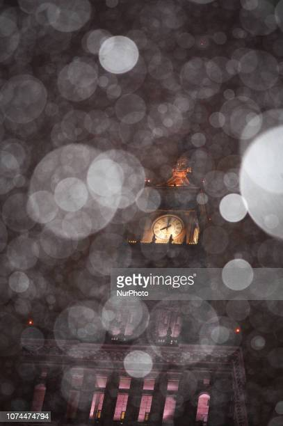 The Palace of Culture and Sciences is seen during snowfall in Warsaw Poland on December 20 2018 Poles this year will spend on average 6 percent more...