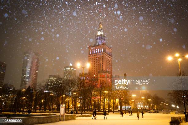 The Palace of Culture and Sciences is seen during snowfall in Warsaw Poland on January 15 2019