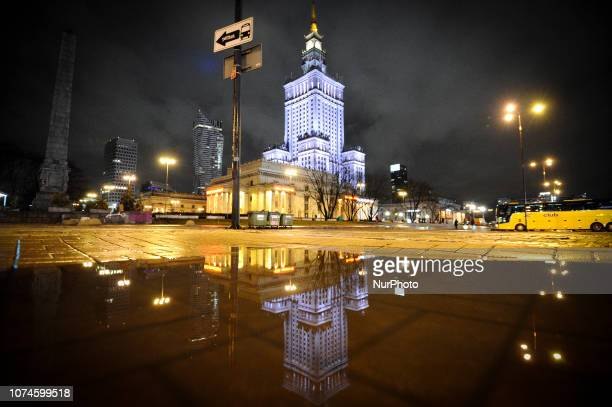 The Palace of Culture and Sciences is seen in Warsaw Poland on December 22 2018