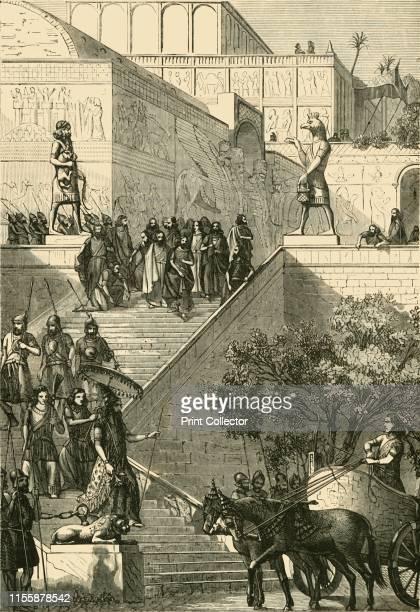 "The Palace of Kouyunjik, Restored. ', 1890. Daily life on the mound-ruin of Kouyunjik, palace of Sennacherib in Nineveh. From ""Cassell's Illustrated..."
