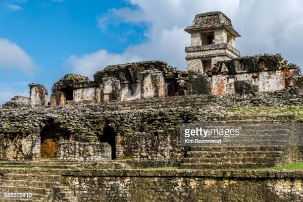 The palace of Palenque, an ancient mayan site in Mexico