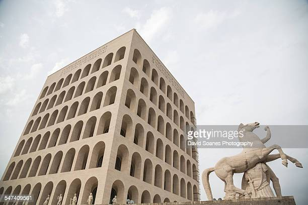 the palace of the italian civilization, eur, rome - eur rome stock pictures, royalty-free photos & images