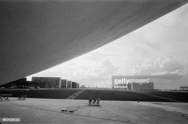 The palace of the National Congress under construction Brasilia Brazil 1st November 1968 Plaza of the Three Powers government buildings designed by...